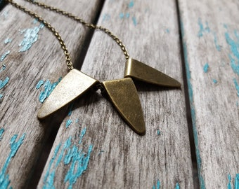 Trio of Triangles Necklace- Triple Triangle Charms with a 24 inch antique gold chain