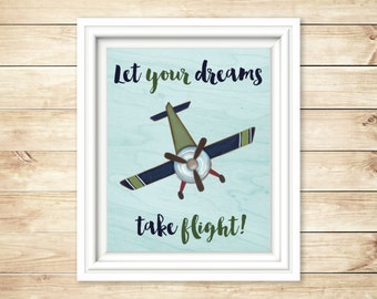 Baby Boy Airplane Nursery Sign | Let Your Dreams Take Flight