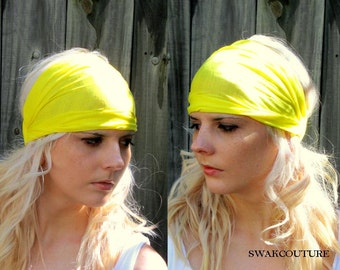 Head Wrap Wide Head Band Yellow Stretchy Cotton Jersey Head Scarf Women's Workout Yoga HeadBand Hair Wrap - Choose Your Color