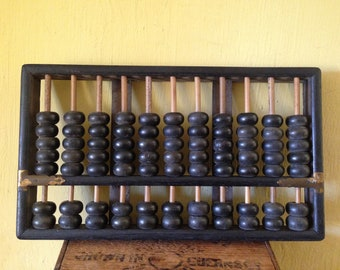 """Oriental Chinese vintage retro 1940's vintage dark wood wooden """"Lotus flower brand"""" counting beads abacus shop display collectable toy"""