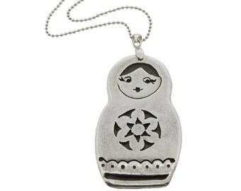 Russian Babushka Sterling SIlver Pendant Necklace, Babushka Necklace, silver babushka, 925 babushka doll pendant, babushka doll necklace
