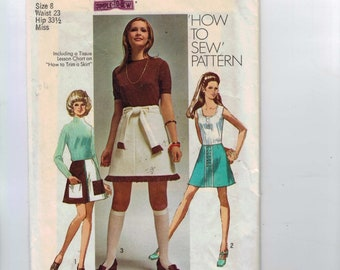 1970s Vintage Sewing Pattern Simplicity 8894 Misses A Line Mini Skirt Size 8 Bust 31 1/2 Waist 24 70s 1970