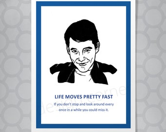 Ferris Bueller All Occasion Funny Illustrated Card