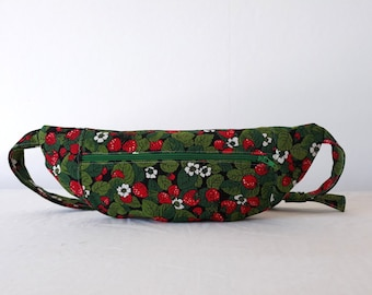 Green and red strawberries printed bumbag
