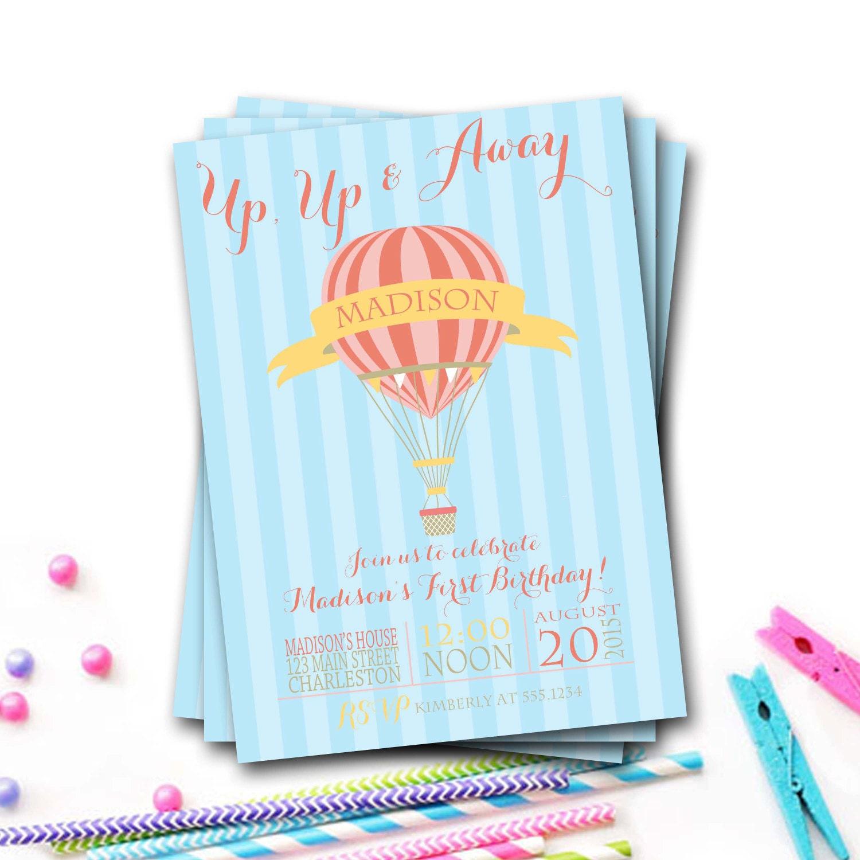 Hot Air Balloon Birthday Invitation, Hot Air Balloon Party, Balloon ...