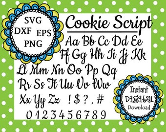 Cookie Script Alphabet - Upper & Lower Case Letters Numbers Symbols - SVG Dxf Eps Png Files - Silhouette Cut Files - Cricut - Vector