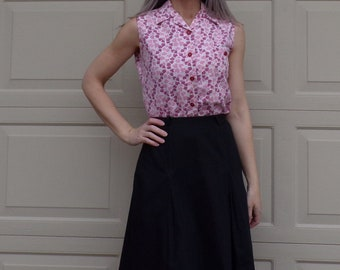 LATE 1960's SUMMER SKIRT black 60's inverted pleat casual S