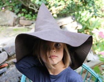 wizard hat, gnome hat, felt hat, brown hat, brown witch hat, brown felt hat, halloween costume hat