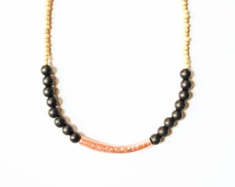 Black and copper necklace, wood beaded necklace, Copper necklace