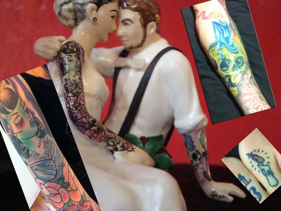 Tattooed Wedding Cake Toppers