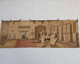 Vintag French Old Age Home Tapestry (295)