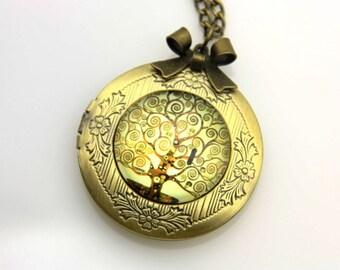 Tree of life Gustav Klimt locket Necklace, 2020m