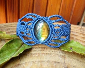 Bracelet macramé pierre labradorite