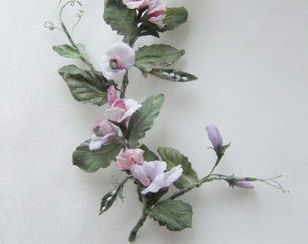Sprig of sweet peas from silk for doll