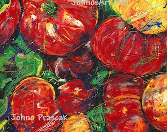 Kitchen wall art, Chef wall art, Garden wall art, Vegetable art, Garden Tomatoes, red tomato ,Print, Pittsburgh artist