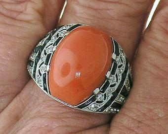 CORAL, Black Onyx, Diamond Ring in Art Deco Design Pattern