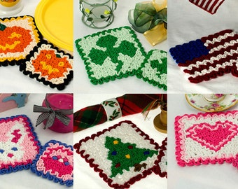 Crochet Hot Pad Pattern: 6 Wiggly Crochet Hot Pads & Coasters, PDF download