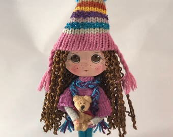Clothespin Girl Doll Art Doll Winter Doll OOAK Handcrafted Mixed Media Doll