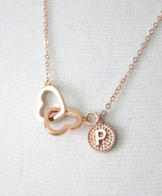 Personalized Rose Gold Double Heart Infinity necklace - simple rose gold filled chain, necklace, forever love, best friends, sister, wife