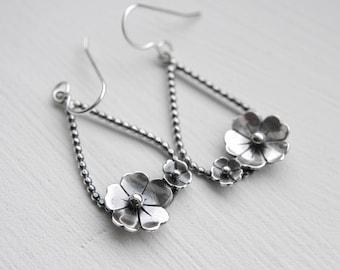 Sterling Silver Tear Drop Flower Earrings. Wire Hoop Earrings. Spring earrings. Bud and Flower Earrings