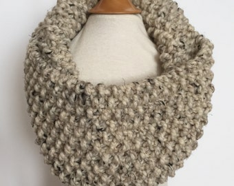 classic moss stitch knit cowl/scarf/infinity scarf for adults ~ acrylic/wool ~ oatmeal ~ great holiday gift ~ from lillybelle designs