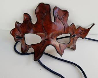 Leather Oak Leaf Mask