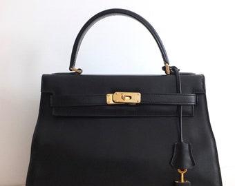 Vintage style Kelly handbag leather box Blak french goods Eric Laville, France sewing bag, boho chic