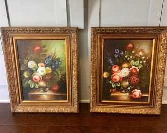 Vintage Pair of Flower Paintings On Canvas/Vintage Original Painting/Vintage Flower Art/Vintage Ornate Frame/Floral Still Life/Pair Of Art