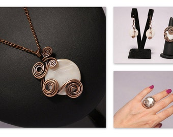 7 Year Anniversary, Copper Anniversary Gift For Women, Copper Jewelry Set, Copper Jewelry Handmade, Mother of Pearl Jewelry Set, Wire Wrap