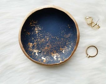 Gold Splatter Ring Dish, Navy Blue Ring Dish, Navy Blue Jewelry Holder, Gift for Women, Engagement Ring Holder, Catchall, Navy Blue and Gold