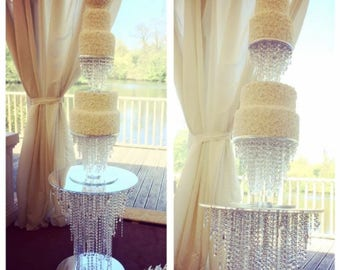 Crystal table and cake stand chandelier wedding cake, hanging cake, cake stage