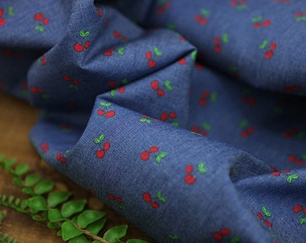 Cherry Denim Cotton Fabric - By the Yard - 97486