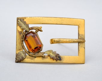 Victorian  Beautiful Amber Glass Sash Pin. Brooch . Large Buckle Type