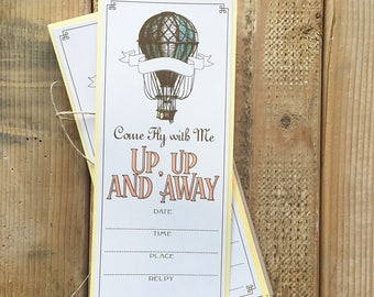Hot Air Balloon, Come Fly with Me, Up Up and Away, 6 Six invite cards with Kraft Envelopes, Party Invitations