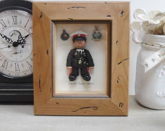 PERSONALISED MILITARY GIFT, Male Army, Air Force, Navy, Soldier, Sailor, Pilot, Polymer Clay Framed Gift,  Retirement, Promotion, Birthdays