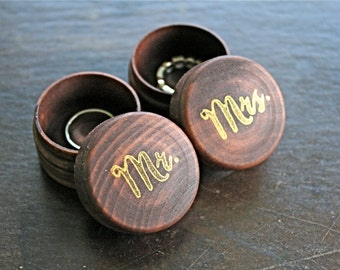 Wedding ring box set, tiny wooden ring boxes, ring bearer accessory, ring warming, pair of pine ring boxes, Mr and Mrs hand stamped in gold