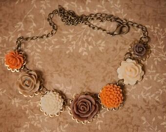 Handmade Flower Necklace Brown Rose Necklace Orange Flower Necklace Brown Flower Necklace Fall Wedding Necklace Fall Bridesmaid Fall Flower