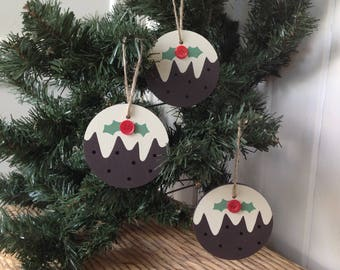 Christmas pudding Tree ornament, Wooden tree decor, christmas decoration, set of 3, hanging decoration, xmas tree ornament, christmas decor