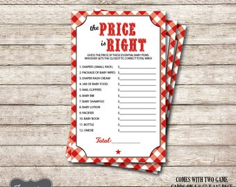 Price is Right Baby Shower Game, Baby Q Baby Shower, The Price is right baby shower, Baby shower games, BBQ Baby Shower, Printable PDF File