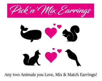 Mix Match Animal Earrings, Pick a Mix Animal Earrings, Quirky Animal Gift, Pick n Mix Earrings, Odd animal earrings, Animal lover gift,