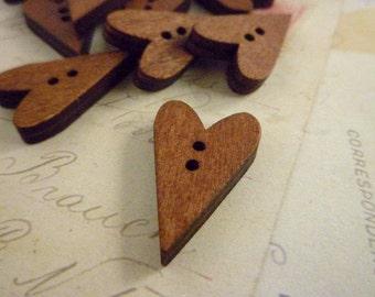 Wooden Buttons - Heart Shaped Dark Wooden Buttons - Pack of 20