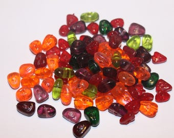 Glass beads as pebbles 10 * 7 mm, set of 70 beads