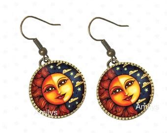 Earrings sun under cabochons, sun, moon, planet, universe