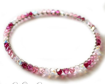 Silver Bangle Bracelet | Swarovski Bracelet | Swarovski Crystal Bracelet | Pink and Silver Baby Shower | Gifts for Her | Free Shipping USA