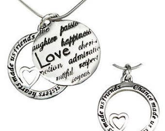 Chance Made us Sisters Hearts Made us Friends Pendant Necklace Sterling Silver
