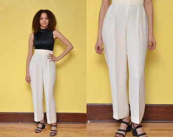 80s High Waisted White Pants Structured Minimal Tapered Trousers - 27 28 inch Waist