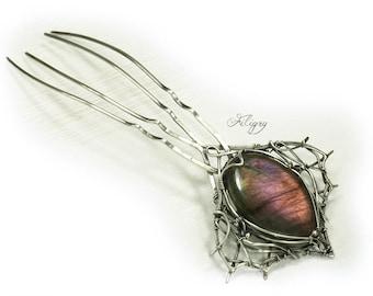 Labradorite 935 Silver Hairpin