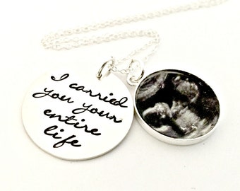 I Carried You Your Entire Life ACTUAL Sonogram Necklace - Personalized Sterling Silver Infant Loss Miscarriage Remembrance Jewelry Gift- Mom
