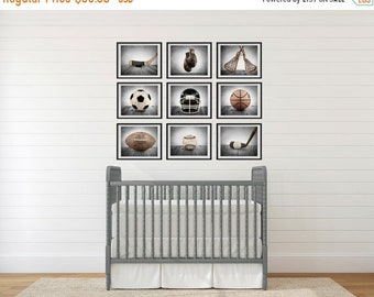 FLASH SALE til MIDNIGHT On Sale The Sports Collection in Grey Tones Set of Nine photo prints, Nursery Decor, Rustic Decor, Vintage Sports De