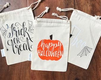 Halloween Muslin Bags, Halloween Bags, Halloween Treat Bags